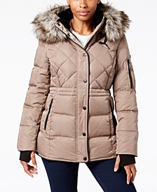 Faux-Fur-Trim Hooded Parka