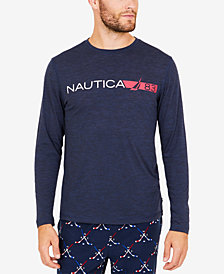 Nautica Men's Space-Dyed Logo Long-Sleeve T-Shirt