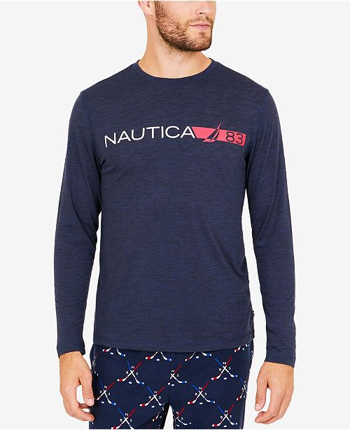 0093ef8a92b835 Nautica Men s Space-Dyed Logo Long-Sleeve T-Shirt   Reviews ...