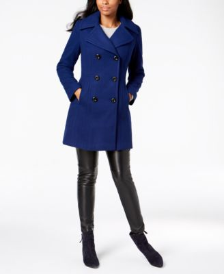 Petite Double-Breasted Wool Peacoat