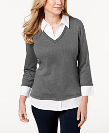 Karen Scott Petite Cotton Layered Knit Top, Created for Macy's