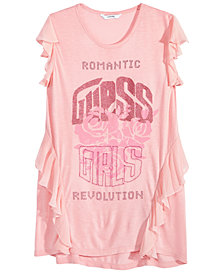 GUESS Big Girls Flutter-Sleeve Graphic-Print T-Shirt