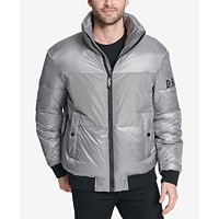 DKNY Mens Mixed Media Puffer Bomber Jacket Deals