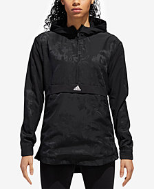 adidas Floral-Print Half-Zip Hooded Jacket