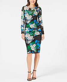 I.N.C. Printed Ruched Midi Dress, Created for Macy's