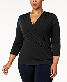 Plus Size Faux-Wrap Hardware Top, Created for Macy's