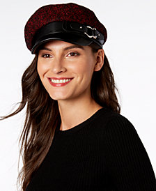 Steve Madden Tweed & Faux Leather Newsboy Cap