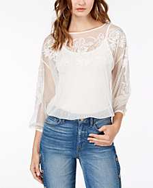 GUESS Luna Embroidered Mesh Top