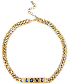 "RACHEL Rachel Roy Gold-Tone Pavé Love ID Collar Necklace, 15"" + 2"" extender"
