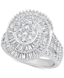 Diamond Swirl Cluster Statement Ring (2 ct. t.w) in 14k White Gold
