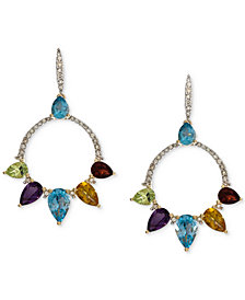 Opal (2 ct. t.w.) & Diamond (1/4 ct. t.w.) Circle Drop Earrings in 14k Rose Gold (Also available in Amethyst & Multi-Gemstone)