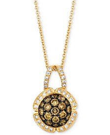 "Chocolatier® Diamond Cluster 18"" Pendant Necklace (7/8 ct. t.w.) in 14k Gold"