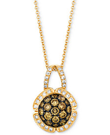 "Le Vian Chocolatier® Diamond Cluster 18"" Pendant Necklace (7/8 ct. t.w.) in 14k Gold"
