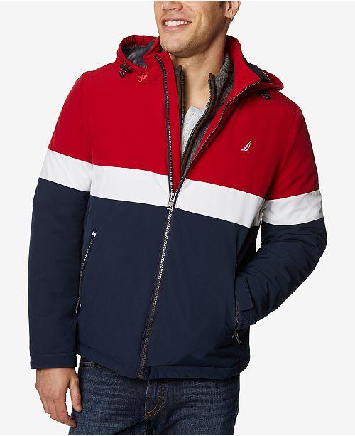 Nautica Men's Colorblocked Hooded Coat