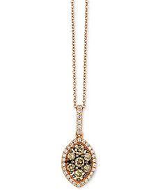 "Chocolatier® Diamond Marquise Cluster 18"" Pendant Necklace (1/2 ct. t.w.) in 14k Rose Gold"