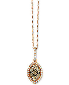 "Le Vian Chocolatier® Diamond Marquise Cluster 18"" Pendant Necklace (1/2 ct. t.w.) in 14k Rose Gold"