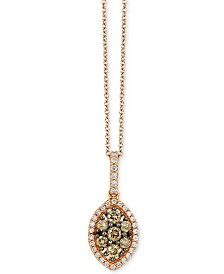 """Le Vian Chocolatier® Diamond Marquise Cluster 18"""" Pendant Necklace (1/2 ct. t.w.) in 14k Rose Gold"""