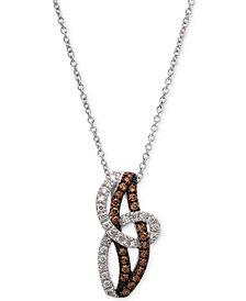 "Le Vian Chocolatier® Diamond Swirl 18"" Pendant Necklace (3/8 ct. t.w.) in 14k White Gold"