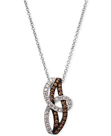 "Le Vian Chocolatier® Diamond Swirl 18"" Pendant Necklace (3/8 ct. t.w.) in 14k White Gold"