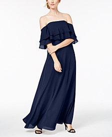 Calvin Klein Tiered Flounce Gown