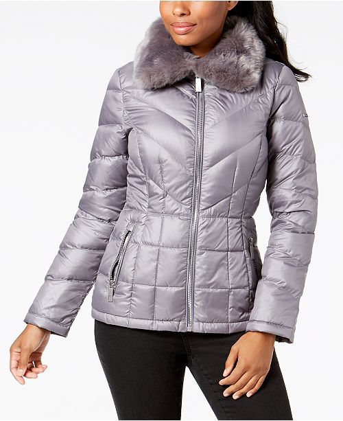 Kenneth Cole Faux-Fur-Collar Puffer Coat