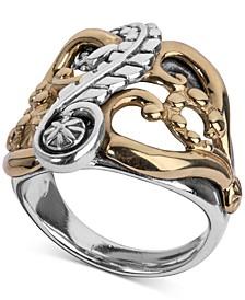 Two-Tone Fancy Openwork Ring in Sterling Silver & Brass