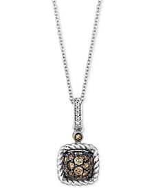 "Chocolatier® Diamond Square Cluster 18"" Pendant Necklace (3/8 ct. t.w.) in 14k White Gold"