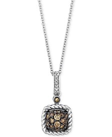 "Le Vian Chocolatier® Diamond Square Cluster 18"" Pendant Necklace (3/8 ct. t.w.) in 14k White Gold"
