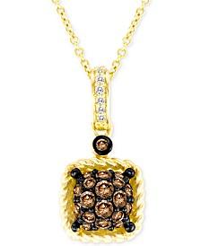 "Le Vian Chocolatier® Chocolate® & Vanilla® Diamond Square Cluster 18"" Pendant Necklace (3/8 ct. t.w.) in 14k Gold"