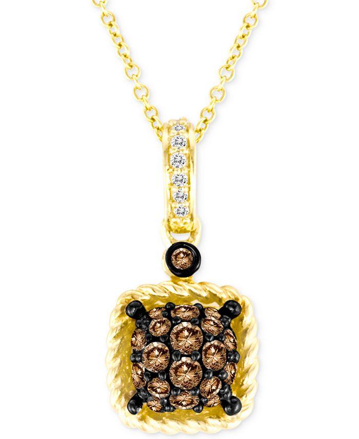 "Le Vian - Chocolatier® Chocolate® & Vanilla® Diamond Square Cluster 18"" Pendant Necklace (3/8 ct. t.w.) in 14k Gold"