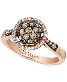 Le Vian Chocolatier® Diamond Halo Cluster Ring (5/8 ct. t.w.) in 14k Rose Gold