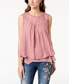 Style & Co Lace-Trim Swing Top, Created for Macy's