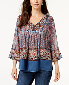 Style & Co Printed Peasant Flutter-Sleeve Top, Created for Macy's