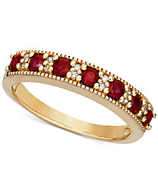 Certified Ruby (3/4 ct. t.w.) & Diamond Accent Milgrain Band in 14k Gold