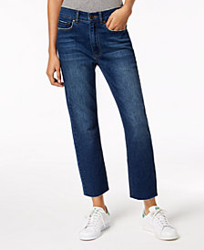 Indigo Rein Ripped Straight-Leg Ankle Jeans