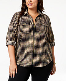 MICHAEL Michael Kors Plus Size Textured Houndstooth-Print Zip Top