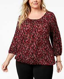MICHAEL Michael Kors Plus Size Printed Peasant Top