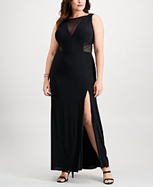 Betsy & Adam Plus Size Illusion Slit Gown