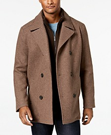 Men's Double Breasted Wool Blend Peacoat with Bib