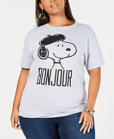 Love Tribe Plus Size Snoopy Bonjour T-Shirt