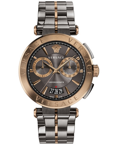 Versace Men's Swiss Chronograph Aion Two-Tone Stainless Steel Bracelet Watch 45mm