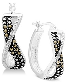 Marcasite & Crystal Small Crossover Small Hoop Earrings  s in Fine Silver-Plate