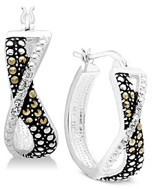 Marcasite & Crystal Small Crossover Hoop Earrings in Fine Silver-Plate