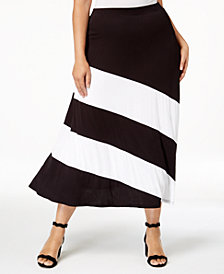 I.N.C. Plus Size Colorblocked Skirt, Created for Macy's