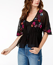 GUESS Embroidered Tassel-Tie Top