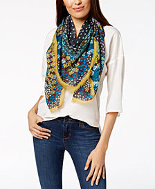 I.N.C. Mod Dot Floral Square Scarf, Created for Macy's