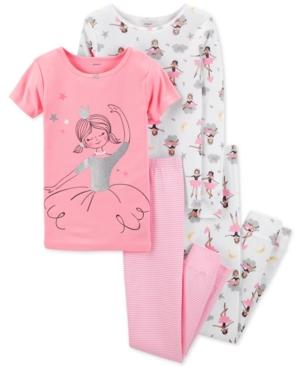 Carters Little  Big Girls 4Pc Ballerina Cotton Pajama Set