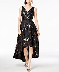 Calvin Klein High-Low Sequin-Embellished Gown