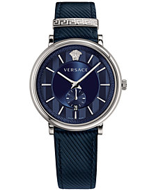 Versace Men's Swiss V-Circle Manifesto Edition Blue Leather Strap Watch 42mm