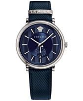 71d9cdafa90c Versace Men s Swiss V-Circle Manifesto Edition Blue Leather Strap Watch 42mm